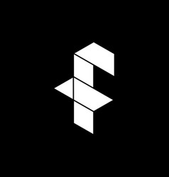 initial letter f logo template with low poly icon vector image