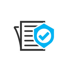 insurance policy icon in flat style report on vector image
