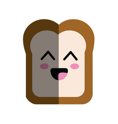 Kawaii cute happy bread icon vector