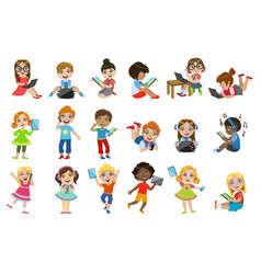 Kids with gadgets set vector
