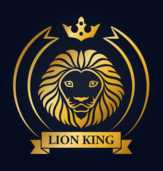 King lion head mascot on blue background vector