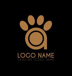 letter a paw logo icon logo symbols vector image
