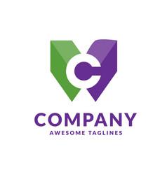 letter c colorful logo vector image
