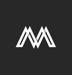 Letter m logo modern monogram paper ribbon vector