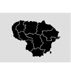 lithuania map - high detailed black map with vector image