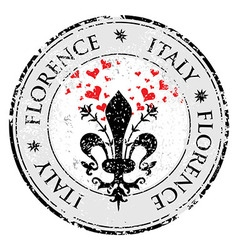 Love heart to The fleur de lis of Florence travel vector image