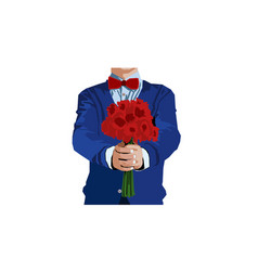 man with flower vector image