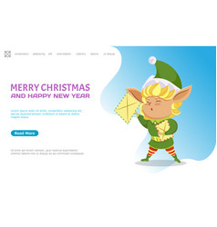 merry christmas and happy new year elf and letter vector image