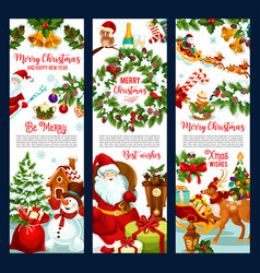 Merry christmas wish santa greeting banners vector