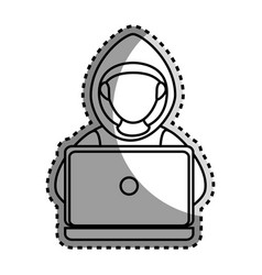 monochrome contour sticker with hacker faceless vector image