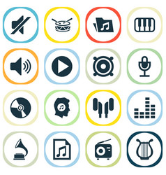 multimedia icons set collection of tuner octave vector image