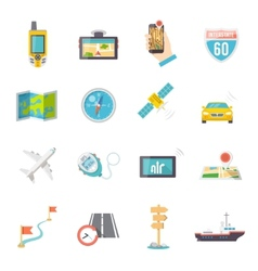 Navigation icons flat vector image