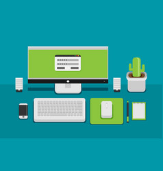 office desk flat mock up template with flat vector image