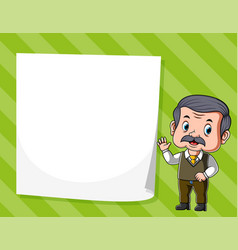 old man standing near white blank paper vector image