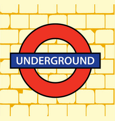 pale brick wall with underground sign vector image