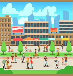 People walking on city street with urban cityscape vector