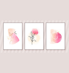 Pink and peach abstract watercolor compositions vector