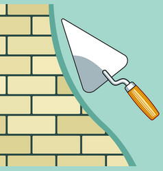 Plastering the brick wall vector