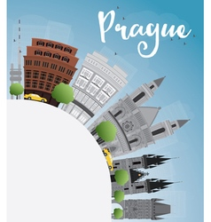 Prague skyline with grey landmarks vector