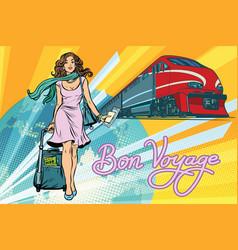 Railroad passenger train bon voyage vector