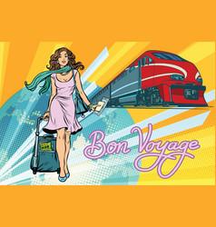 railroad passenger train bon voyage vector image