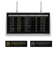 realistic 3d digital led airport board with flight vector image