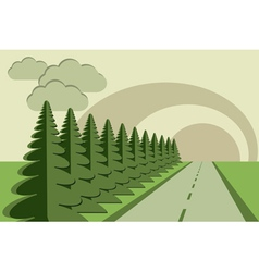 road fir trees sky papercraft vector image vector image
