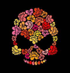 Rose skull on black background Skeleton Head of vector image