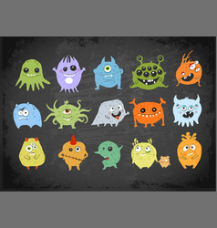 set cartoon doodle germs viruses and bacterias vector image