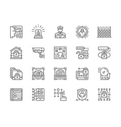 set security services line icons police vector image