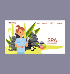 Spa stone web page zen stony therapy for vector