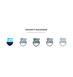 Spaghetti bolognese icon in different style two vector