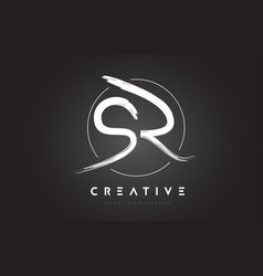 sr brush letter logo design artistic handwritten vector image