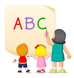 Teacher is teaching alphabet vector
