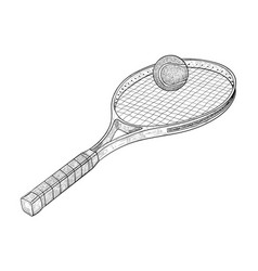 tennis racket with a ball hand drawn sketch vector image