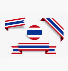 Thai flag stickers and labels vector