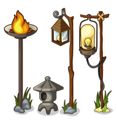 torch and vintage street lights isolated vector image