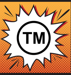 Trade mark sign comics style icon on pop vector