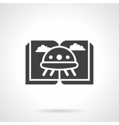 UFO fiction glyph style black icon vector image