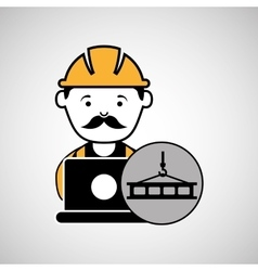 Under construction laptop worker crane vector