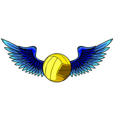 volleyball ball logo with long wings in blue and vector image