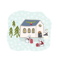 winter holidays snow scene cottage clipart hand vector image