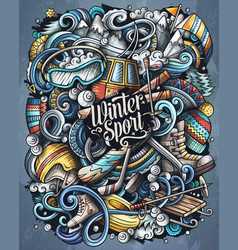 winter sports doodles ski vector image
