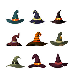 witchcraft hats set caps wizard and magicians vector image