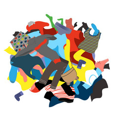 With a messy pile dirty laundry vector