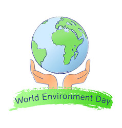 world environment day logo with earth and hands vector image