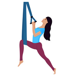 Young woman doing exercise with hammock vector