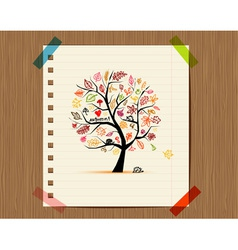 Autumn tree sketch drawing for your design vector image vector image