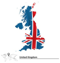 Map of United Kingdom with flag vector image