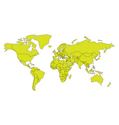 simplified map of world in yellow-green color vector image vector image